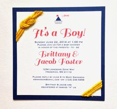 Adorable nautical themed Baby Shower invitations for your little sailor! Click to see them in my Etsy shop!