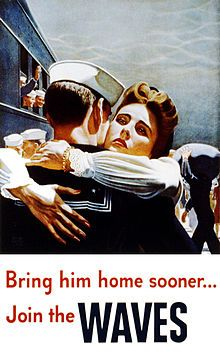 Bring him home sooner... Join the WAVES. American Home Front propaganda poster.