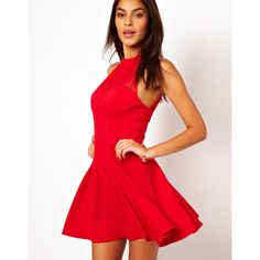 ASOS Ruched Mesh 90's Skater Dress (€30) ❤ liked on Polyvore