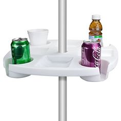 Sol Coastal Beach Umbrella Table with 4 Cup Holders