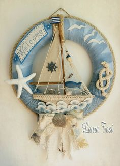 Coastal Wreath, Nautical Wreath, Coastal Decor, Diy Spring Wreath, Diy Wreath, Wreaths, Seashell Crafts, Beach Crafts, Seashore Decor