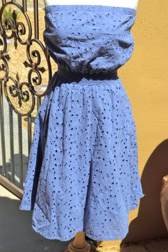 Blue Eyelet Embroidered Strapless Summer by faintofheartvintage, $35.00
