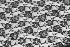 Black Stretch Lace Fabric by the Yard, Wedding Lace Fabric, Bridal Lace Fabric  1 Yard Style 216. $5.90, via Etsy.
