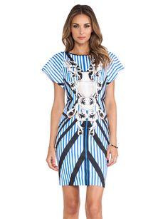 CLOVER CANYON Striped Sculpture Neoprene Dress