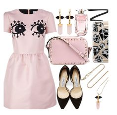 """Glamorous"" by enola-pycroft ❤ liked on Polyvore featuring RED Valentino, Jimmy Choo, Isabel Marant, Valentino, Casetify, Eyeko, Elie Saab, glamorous and glam"