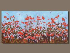 FREE SHIP abstract painting poppy painting by SageMountainStudio