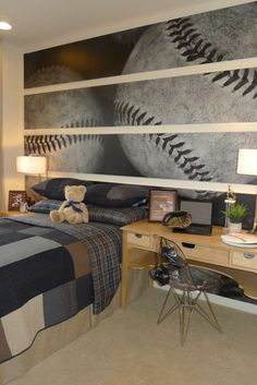 Boys Baseball Room Design Ideas, Pictures, Remodel, and Decor. Really cute room. What a cool idea! Boys Room Decor, Bedroom Decor, Bedroom Ideas, Teen Bedroom, Bedroom Murals, Room Kids, Design Bedroom, Modern Bedroom, Guy Bedroom