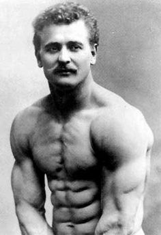 """Father of Modern Bodybuilding"" Eugen Sandow. This picture was taken in the 1800s (well before barbells and fitness gyms were common place)"