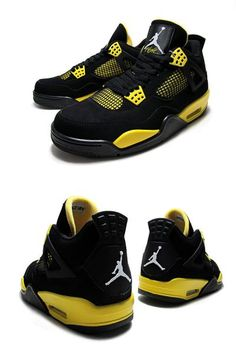 NIKE AIR JORDAN 4 RETRO THUNDER blk/wht t yellow 308497-008