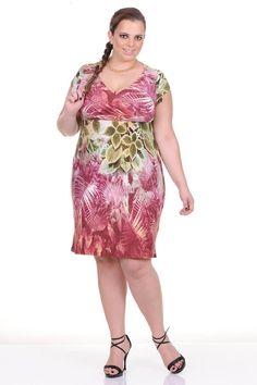 Moda feminina plus size   81810 Vestido transpassado com estampa de folhagem