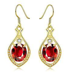 Gnzoe Jewelry, 18K Gold Drop Earrings Fishhook Tree Leave...
