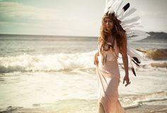 Beautiful photo; Ocean, gorgeous native headpiece, flowing white dress