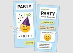 Einladungskarte+Party+Emoji+von+SaNe-Stücke+-+Individuelle+Einladungskarten+und+mehr+auf+DaWanda.com