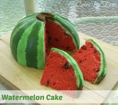 Watermelon Cake.  No recipe or instructions on creating.  Shows idea for cute design.