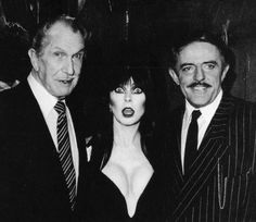 vixensandmonsters:  Vincent Price with Elvira and John Astin   Now that is an intense trio!