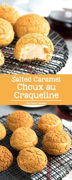 Choux au Craquelin with Salted Caramel Cream A crispy choux pastry with a cookie crust filled with a airy and creamy salted caramel diplomat cream via TheFlavorBender Brownie Desserts, Easy No Bake Desserts, Oreo Dessert, Cheesecake Desserts, Köstliche Desserts, Best Dessert Recipes, Sweet Recipes, Delicious Desserts, Cheesecake Strawberries