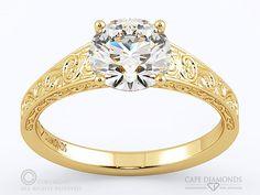 89. Engraved Plant Motifs Engagement Rings : Cape Diamonds