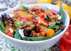 Tomato Spinach Salad with Red Pepper Dressing Fresh Vegetables, Fresh Herbs, Veggies, Sweet Bell Peppers, Red Peppers, Cabbage Salad, Spinach Salad, Heirloom Tomato Tart, Red Sun