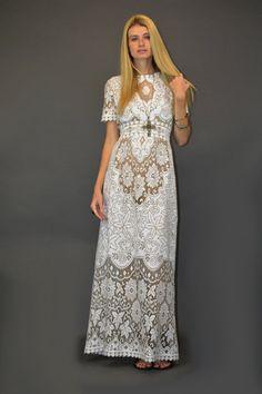 VTG 70s cut out Lace dress - Crochet Wedding RUNWAY boho hippie by HSVintage