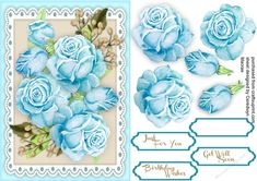 A lovely card with Stunning Aqua Roses  on lace has three greeting tags and  a blank one