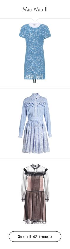 """Miu Miu II"" by snugget9530 ❤ liked on Polyvore featuring dresses, miu miu, miu miu dress, sequin cocktail dresses, sequin mini dress, mini dress, blue, short, blue lace dresses and cotton tee dress"