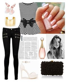 """""""Untitled #20"""" by socerk ❤ liked on Polyvore featuring Jennifer Fisher, Elie Saab, Brumani, WearAll, Paige Denim, Nly Shoes, Christian Dior and stripedshirt"""
