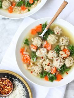 [NEW on Slow Cooker from Scratch] Skinny Slow Cooker Kale and Turkey Meatball Soup from FoodieCrush is a healthy slow cooker meal! [via Slow Cooker from Scratch] #HealthySlowCooker