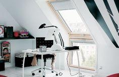 A minimal home office loft space.