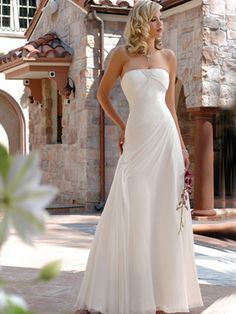 Wedding Dresses Pictures - A-Line Strapless Natural Waist Chiffon Wedding Dress - Style WD0066