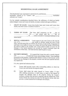 Printable Sample Residential Lease Form  Laywers Template Forms