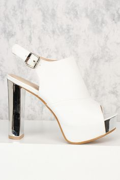 True beauty is exactly what defines these platform! The features include, a nubuck faux leather texture, peep toe, high polish side buckle closure sling back, stitched trim, and a cushioned foot bed. Approximately a 4 1/2 inch chunky heel and 2 inch platform.