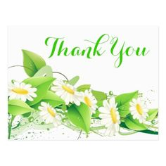 Shop Floral Green Thank You White Daisies Flowers Postcard created by merrybrides. Thank You Messages Gratitude, Thank You Wishes, Thank You Greetings, Birthday Greetings, Thank You Pictures, Business Thank You Cards, Thank You Postcards, Wedding Thank You, Postcard Size