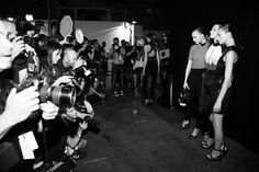 Lights flashing backstage at #alexanderwang Spring 2015