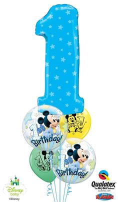 This birthday bouquet features Mickey Mouse Bubble Balloon* and latex balloons* and a big number Microfoil balloon** in blue, yellow, and green tones. *Disney licensed product **Not a Disney licensed product ©Disney Mickey Mouse Birthday Theme, Mickey E Minnie Mouse, Minnie Mouse Balloons, 1st Birthday Balloons, Mickey 1st Birthdays, Disney Balloons, First Birthday Themes, Baby 1st Birthday, Mickey Party