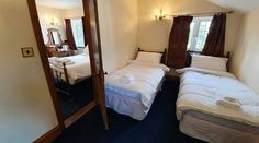 Room 11 - Family room, main bedroom has a king sized bed, room 11 comes with a separate bedroom with the two single beds. Country Hotel, Country House Hotels, Cornwall Hotels, Single Beds, Hotel Stay, Ceiling Beams, Stone Flooring, Bed Room, Fine Dining