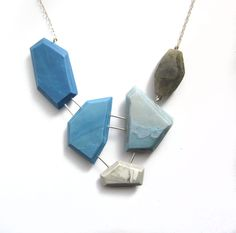 Blue and white statement necklace, labradorite necklace, sterling silver jewelry, contemporary necklace, sky blue necklace, lightweight by BlueEyedSquirrel on Etsy