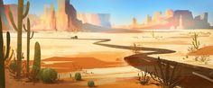 Desert Road - Digital painting by Elaine Wu (TeeterTotter on deviantART) Desert Environment, Environment Concept, Environment Design, Desert Road, Desert Art, Desert Background, Art Background, Background Patterns, Landscape Concept