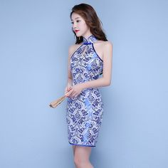 Blue And White Porcelain Sexy Chinese Dress Sleeveless Modern Qipao Traditional Cheongsam Antiques For Sale Robe Courte Qi Pao