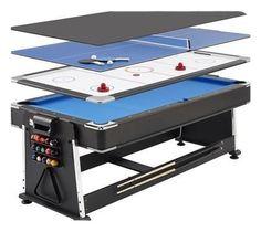 Biljardbord med pingis & airhockey Pool table with ping pong & air hockey Garage Game Rooms, Game Room Basement, Basement Plans, Basement Ideas, Playroom, Basement Office, Garage Bar, Basement Apartment, Basement Flooring