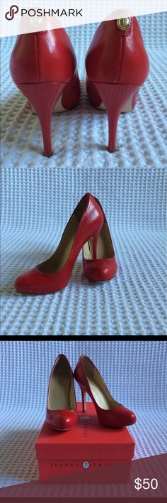"""Red heels Beautiful and sexy red pumps. 4"""" hight. Worn once. Except for the sole, no scratches and no stains. Ivanka Trump Shoes Heels"""