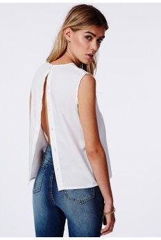 Astra Button Back Shell Top White