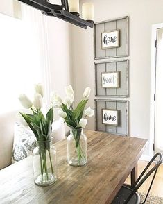 """LOVE this space!!! Gorgeous table & beautiful """"home sweet home"""" wall decor! Found the sign on Etsy! {Salvaged Chic Market} ... Home Sweet Home Sign 