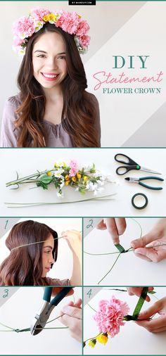 Make a statement by adding a cute flower crown to your hair! These fun and floral headbands are too cute not to try! Perfect floral crowns for Coachella and other music festivals. Click to see the DIY tutorial!