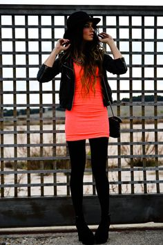 coral and black ( DRESS Bershka New Collection, JACKET Topshop, SHOES Jeffrey Campbell, HAT El Corte Inglés, BAG Chanel, NECKLACE Sandra Feltes)