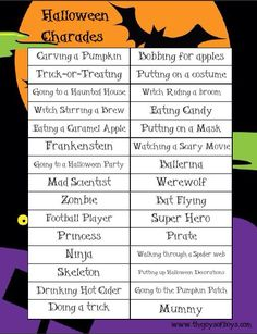 halloween charades easy halloween game and free printable the joys of boys halloween party ideas