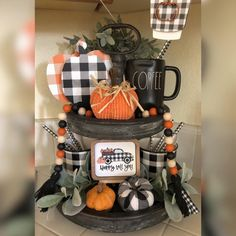Elegant Fall home decor ideas with Pumpkins, Buffalo Checks & Ginghams to we. - Elegant Fall home decor ideas with Pumpkins, Buffalo Checks & Ginghams to welcome the Harvest s - Fall Kitchen Decor, Fall Home Decor, Autumn Home, Kitchen Decorations, Fall Decor For Mantel, Kitchen Ideas, Halloween Home Decor, Fall Halloween, Halloween Decorations