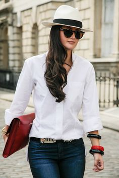 London Street Style - Denim + White blouse + Fedora