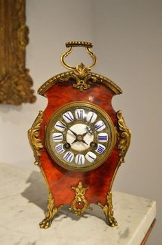 A 19th Century French Red Tortoise Shell Mantel Clock