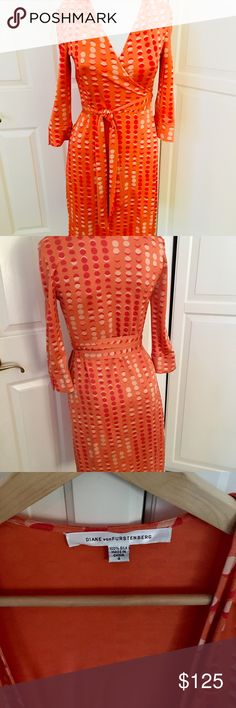 """DIANE VON FURSTENBURG DVF ORANGE SILK WRAP DRESS 4 THIS IS THE ICONIC DVF ORANGE PRINT WRAP DRESS FROM """"SEX IN THE CITY"""" MIRANDA WORE THIS AND THE DRESS FLEW OFF THE RACKS!  This print became celebrity famous and highly coveted. Sold out twice. Rare to find!  l SEARCHED HIGH AND LOW AND Found AT NEIMAN MARCUS. RARE PRINT!  (Funny backstory, l wore this dress on the popular TV game show DEAL OR NO DEAL!)  DVF wrap dresses classic, feminine and sexy!   Now for the details: Size 4 Fabric is in…"""