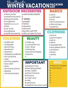 Free Printable Winter Vacation Packing List For Cold Weather Not sure what to pack for your cold weather getaway? Use the free printable winter vacation packing list to help you stay organized for your winter vacation travel. What To Pack For Vacation, Summer Packing Lists, Beach Vacation Packing List, Packing List For Travel, Vacation Travel, Beach Travel, Beach Vacations, Travel Checklist, Vacation Ideas